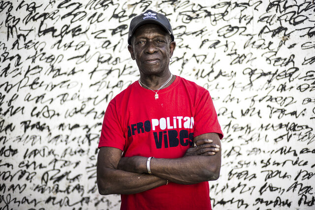 In this photo taken Wednesday, April 5, 2017, pioneering African drummer Tony Allen, whose influential career spanned decades and continents, poses for a portrait ahead of a concert with Senegalese musician Cheikh Lo in Dakar, Senegal. Tony Allen, the driver of the Afrobeat sound who formed a partnership with guitarist and composer Fela Kuti, died of aortic failure at the Pompidou Hospital in Paris aged 79 on Thursday night, his manager Eric Trosset confirmed to The Associated Press on Friday, May 1, 2020. (AP Photo/Sylvain Cherkaoui)