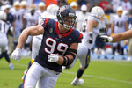 Houston Texans defensive end J.J. Watt runs a play against the Los Angeles Chargers during the first half of an NFL football game Sunday, Sept. 22, 2019, in Carson, Calif. (AP Photo/Mark J. Terrill)