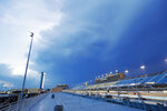 Clouds hover above Homestead-Miami Speedway during a NASCAR Truck Series auto race Saturday, June 13, 2020, in Homestead, Fla. (AP Photo/Wilfredo Lee)