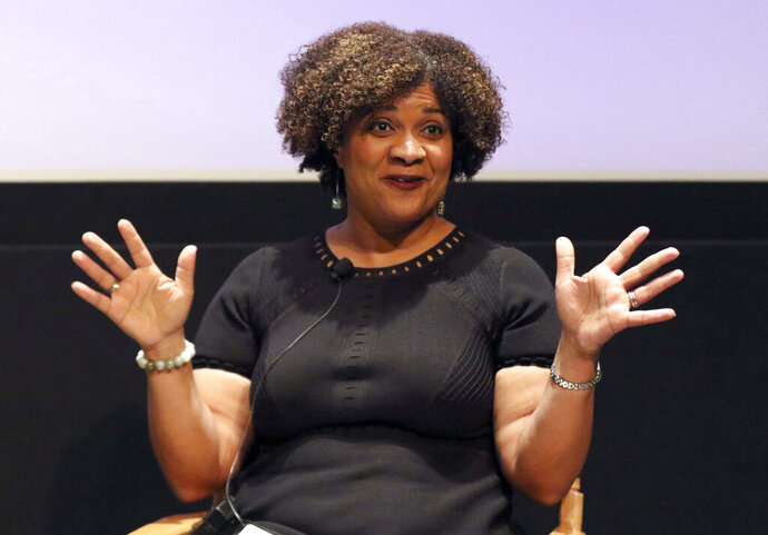 FILE - In this Dec. 8, 2017, file photo, Fatima Goss Graves speaks at a discussion about sexual harassment and how to create lasting change from the scandal roiling Hollywood at United Talent Agency in Beverly Hills, Calif. Three years into the #MeToo movement, there may be more awareness around workplace sexual harassment. But a new report finds that almost three-quarters of people reporting such harassment suffer from retaliation if they complain. The study was conducted by the National Women's Law Center, which houses and administers the Time's Up Legal Defense Fund. Graves, president and CEO of the law center and co-founder of the fund, said the scenarios outlined in the report should sound