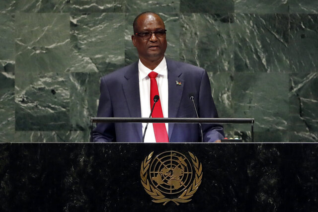 FILE - In this Friday, Sept. 28, 2018 file photo, South Sudan's First Vice President Taban Deng Gai addresses the 73rd session of the United Nations General Assembly, at U.N. headquarters. The United States issued a statement Wednesday, Jan. 8, 2020 announcing that it has imposed sanctions on South Sudan's First Vice President Taban Deng Gai, citing his involvement in serious human rights abuses. (AP Photo/Richard Drew, File)