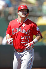 Los Angeles Angels' Mike Trout runs the bases after hitting a two-run home run off Oakland Athletics' Brett Anderson in the third inning of a baseball game Thursday, Sept. 5, 2019, in Oakland, Calif. (AP Photo/Ben Margot)