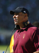Arizona State coach Herm Edwards watches the second quarter of an NCAA college football game against Michigan State, Saturday, Sept. 14, 2019, in East Lansing, Mich. (AP Photo/Al Goldis)