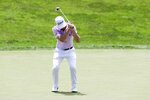 Justin Thomas reacts after missing a putt on the 18th hole during the final round of the Workday Charity Open golf tournament, Sunday, July 12, 2020, in Dublin, Ohio. (AP Photo/Darron Cummings)