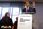 Chaka Umunna speaks alongside Luciana Berger during a press conference to announce the new political party, The Independent Group, in London, Monday, Feb. 18, 2019. Seven British Members of Parliament say they are quitting the main opposition Labour Party over its approach to issues including Brexit and anti-Semitism. Many Labour MPs are unhappy with the party's direction under leader Jeremy Corbyn, a veteran socialist who took charge in 2015 with strong grass-roots backing. (AP Photo/Kirsty Wigglesworth)