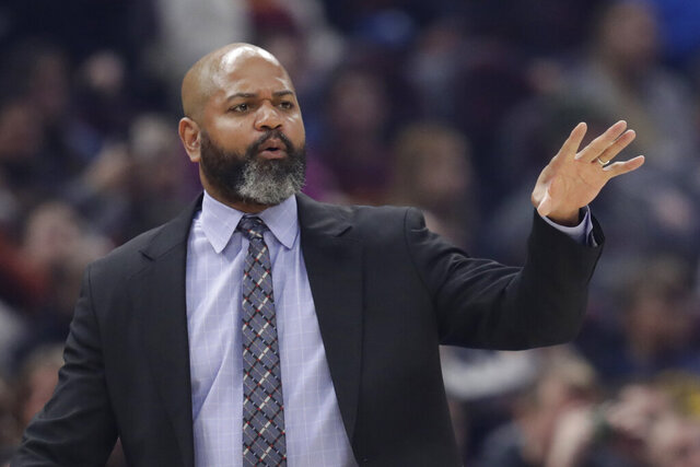 """FILE - In this March 2, 2020 file photo, Cleveland Cavaliers head coach J.B. Bickerstaff gives instructions to players in the first half of an NBA basketball game against the Utah Jazz in Cleveland. Even if the NBA doesn't resume this season, and at this point no one knows for sure, the Cavaliers believe it's time to start getting ready for the next one. """"Any minute that we can get working with each other is beneficial to us,"""" Cavs coach J.B. Bickerstaff said Wednesday, May 6, 2020. (AP Photo/Tony Dejak, File)"""