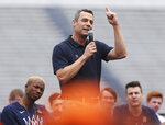 Virginia head coach Tony Bennett speaks during a celebration honoring the Virginia Cavaliers for winning the NCAA men's college basketball championship, Saturday, April 13, 2019, at Scott Stadium in Charlottesville, Va. (Zack Wajsgras/The Daily Progress via AP)