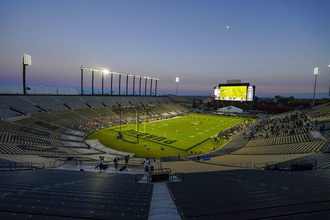 Purdue played against Iowa in front of family members during the fourth quarter of an NCAA college football game in West Lafayette, Ind., Saturday, Oct. 24, 2020. Purdue defeated Iowa 24-20. (AP Photo/Michael Conroy)