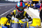 Colton Herta climbs out of his car during practice for the Indianapolis 500 auto race at Indianapolis Motor Speedway in Indianapolis, Friday, May 21, 2021. (AP Photo/Michael Conroy)