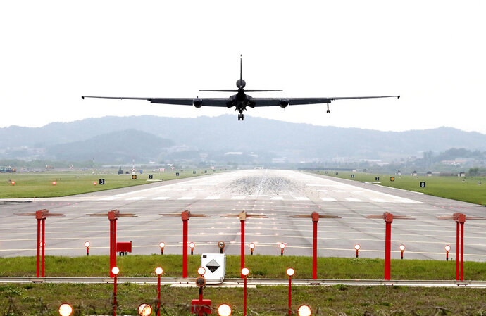 A U.S. Air Force U-2 spy plane prepares to land as South Korea and the United States conduct the Max Thunder joint military exercise at the Osan U.S. Air Base in Pyeongtaek, South Korea, Wednesday, May 16, 2018. North Korea on Wednesday canceled a high-level meeting with South Korea and threatened to scrap a historic summit next month between President Donald Trump and North Korean leader Kim Jong Un over military exercises between Seoul and Washington that Pyongyang has long claimed are invasion rehearsals. (Kwon Joon-woo/Yonhap via AP)
