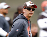 FILE - In this May 22, 2019, file photo, Cleveland Browns offensive coordinator Todd Monken watches a drill during an NFL football organized team activity session at the team's training facility in Berea, Ohio. There will be much interest in possible changes coming to No. 4 Georgia's offense with a new quarterback, who is expected to be Wake Forest transfer Jamie Newman, and a new coordinator, Monken. Still, coach Kirby Smart's Bulldogs may lean on their experienced defense in the pandemic-delayed season. (AP Photo/Ron Schwane, File)