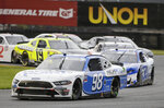 Chase Briscoe leads the way on the road course during the NASCAR Xfinity series auto race at Daytona International Speedway, Saturday, Aug. 15, 2020, in Daytona Beach, Fla. (AP Photo/Terry Renna)
