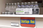 This 2019 photo provided by Civica Rx shows vials of vancomycin in the pharmacy of the Riverton Hospital in Utah. Brand-name drugs get monopolies lasting up to two decades under U.S. patent law, so most of the alternative drugmakers are targeting certain off-patent medicines whose prices have risen dramatically in recent years. (Civica Rx via AP)