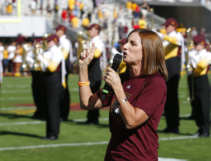 U.S. Rep. Martha McSally, R-Ariz. sings the national anthem before an NCAA college football game between Arizona State and Utah, Saturday, Nov. 3, 2018, in Tempe, Ariz. (AP Photo/Rick Scuteri)