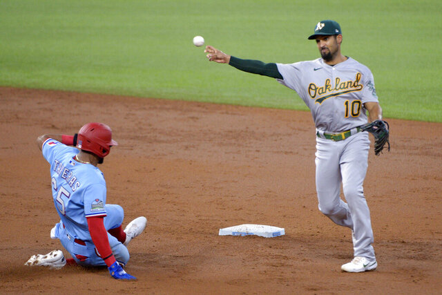 Oakland Athletics shortstop Marcus Semien (10) makes the throw to first on a double play over Texas Rangers Leody Taveras (65) in the third inning during a baseball game in Arlington, Tex, Sunday, Sept. 13, 2020. (AP Photo/Matt Strasen)