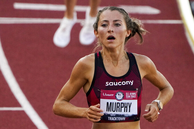 Grayson Murphy wins the first prelim of the women's 3000-meter steeplechase at the U.S. Olympic Track and Field Trials Sunday, June 20, 2021, in Eugene, Ore. (AP Photo/Chris Carlson)