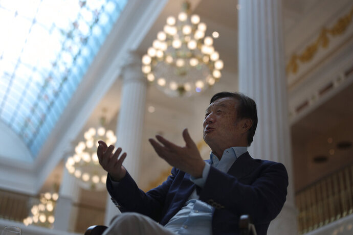 Huawei's founder Ren Zhengfei, speaks during an interview at the Huawei campus in Shenzhen in Southern China's Guangdong province on Tuesday, Aug. 20, 2019. Ren said he expects no relief from U.S. export curbs due to the political climate in Washington but expresses confidence the company will thrive with its own technology. (AP Photo/Ng Han Guan)