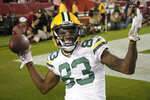 Green Bay Packers wide receiver Marquez Valdes-Scantling (83) celebrates after catching a touchdown pass during the second half of an NFL football game against the San Francisco 49ers in Santa Clara, Calif., Sunday, Sept. 26, 2021. (AP Photo/Tony Avelar)