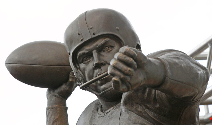 Graham's remarkable decade of dominance with the Browns has been immortalized. The team unveiled a bronze statue on Saturday, Sept. 7, 2019, outside FirstEnergy Stadium of the late Hall of Fame quarterback, who led Cleveland to 10 championship games in 10 seasons. September 7, 2019, at FirstEnergy Stadium in Cleveland, Ohio. (John Kuntz/cleveland.com via AP)
