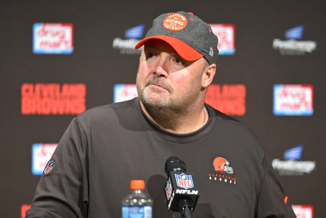Cleveland Browns head coach Freddie Kitchens answers questions after the Baltimore Ravens defeated his team in an NFL football game, Sunday, Dec. 22, 2019, in Cleveland. (AP Photo/David Richard)