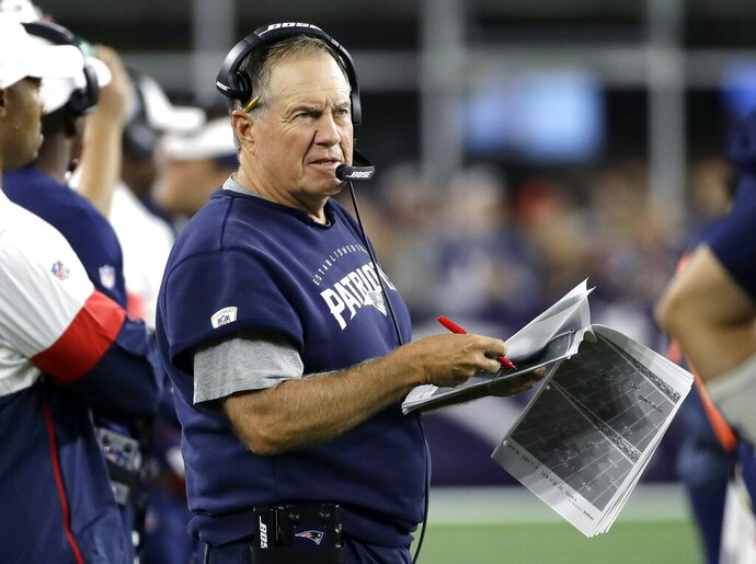 New England Patriots head coach Bill Belichick watches from the sideline in the second half of an NFL football game against the Pittsburgh Steelers, Sunday, Sept. 8, 2019, in Foxborough, Mass. (AP Photo/Elise Amendola)