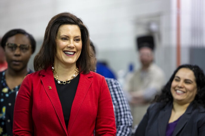 Gov. Gretchen Whitmer visits Grand Rapids Community College's Leslie Tassell M-TEC campus on Wednesday, Feb. 13, 2019 in Grand Rapids, Mich. (Cory Morse/The Grand Rapids Press via AP)