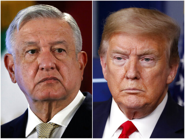 This combination of file photos shows Mexican President Andres Manuel Lopez Obrador, left, on Nov. 29, 2019, in Mexico City and President Donald Trump on April 17, 2020, in Washington. The COVID-19 pandemic could have been a fraught moment for U.S.-Mexico relations — two leaders from opposite ends of the political spectrum facing the largest crisis ever confronted by either administration. Instead, Trump and López Obrador are carrying on like old pals. (AP File Photo)