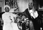 FILE - In this June 30, 1948 file photo, King Abdullah of Jordan, left, and his host, King of Saudi Arabia Abdul Aziz Ibn Saud, are  photographed together in Saudi Arabia.  Abdullah was killed in front of Al-Aqsa Mosque in Jerusalem at 1951 by an Arab follower of the former mufti of the city. King Abdullah had incorporated the portion of British mandated territory, including Jerusalem and what is now the West Bank, that bordered Jordan the year before.  (AP Photo, File)