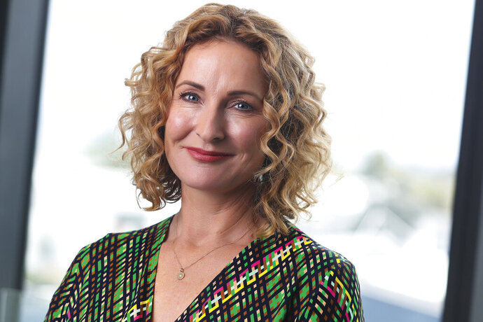 This image provided by Stuff, shows CEO Sinead Boucher in Auckland, New Zealand Nov. 28, 2019. Stuff, one of New Zealand's largest media organizations has been sold for a single dollar to the chief executive, Sinead Boucher in a management buyout that would be completed by the end of the month. (David White/Stuff via AP)