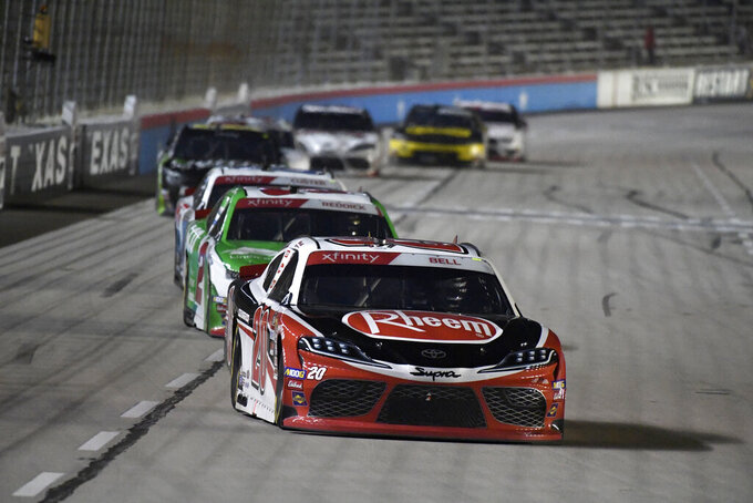 Christopher Bell heads into Turn 1 during NASCAR Xfinity auto race at Texas Motor Speedway in Fort Worth, Texas, Saturday, Nov. 2, 2019. (AP Photo/Larry Papke)