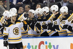 Boston Bruins right wing David Pastrnak (88) celebrates after scoring a goal in the second period of an NHL hockey game against the New York Rangers, Wednesday, Feb. 6, 2019, at Madison Square Garden in New York. (AP Photo/Mary Altaffer)
