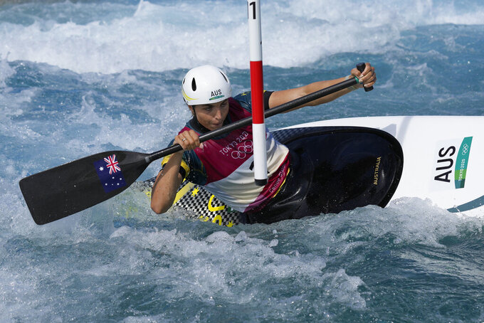 Jessica Fox of Australia competes in the Women's C1 of the Canoe Slalom at the 2020 Summer Olympics, Thursday, July 29, 2021, in Tokyo, Japan. (AP Photo/Kirsty Wigglesworth)