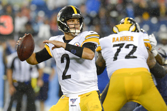 Pittsburgh Steelers quarterback Mason Rudolph (2) passes against the Tennessee Titans in the first half of a preseason NFL football game Sunday, Aug. 25, 2019, in Nashville, Tenn. (AP Photo/Mark Zaleski)