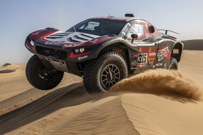 Driver Mathieu Serradori, of France, and co-driver Fabian Lurquin, of Belgium, race their Century during stage eight of the Dakar Rally in Wadi Al Dawasir, Saudi Arabia, Monday, Jan. 13, 2020. (AP Photo/Bernat Armangue)