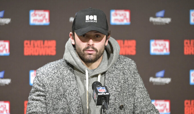 Cleveland Browns quarterback Baker Mayfield answers questions during a news conference after an NFL football game against the Miami Dolphins, Sunday, Nov. 24, 2019, in Cleveland. (AP Photo/David Richard)