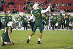 South Florida's Spencer Shrader watches his field goal attempt hit the upright as holder Trent Schneider looks on during the second half of an NCAA college football game against Cincinnati, Saturday, Nov. 16, 2019, in Tampa, Fla. Cincinnati won 20-17. (AP Photo/Mike Carlson)