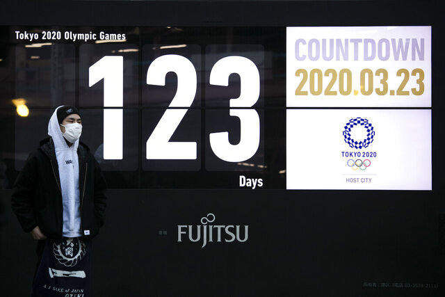 A man stands in front of a countdown display for the Tokyo 2020 Olympics and Paralympics in Tokyo, Monday, March 23, 2020. Japanese Prime Minister Shinzo Abe acknowledged that a postponement of the crown jewel of the sporting world could be unavoidable. Canada and Australia then added to the immense pressure that has been steadily mounting on organizers by suggesting that they wouldn't send athletes to Tokyo this summer. (AP Photo/Jae C. Hong)
