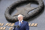 Belarusian President Alexander Lukashenko delivers his speech during an opening ceremony of the monument to the World War II Red Army, in the village of Khoroshevo, just outside Rzhev, about 200 kilometers (about 125 miles) northwest of Moscow, Russia, Tuesday, June 30, 2020. (Mikhail Klimentyev, Sputnik, Kremlin Pool Photo via AP)
