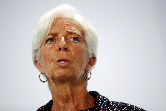 European Central Bank (ECB) President Christine Lagarde attends a news conference during the Informal Meeting of Economics and Finance Ministers in Berlin, Germany, Friday, Sept. 11, 2020. (Hannibal Hanschke/Pool Photo via AP)