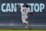 Detroit Tigers right fielder Daz Cameron can't catch an RBI double hit by Kansas City Royals' Jorge Soler during the sixth inning of a baseball game Thursday, Sept. 24, 2020, in Kansas City, Mo. (AP Photo/Charlie Riedel)