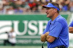 Florida head coach Dan Mullen watches against South Florida during the first half of an NCAA college football game Saturday, Sept. 11, 2021, in Tampa, Fla. (AP Photo/Chris O'Meara)
