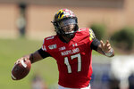 FILE - In this Saturday, Aug. 31, 2019, file photo, Maryland quarterback Josh Jackson looks to pass against Howard during the first half of an NCAA college football game, in College Park, Md. Maryland beat Howard 79-0 in Mike Locksley's first game as head coach (he was interim coach for six games in 2015). Now let's see how the Terrapins stack up against a ranked opponent. Despite the competition he was going against last week, it was obvious Maryland upgraded its QB situation with Virginia Tech graduate transfer Josh Jackson.  (AP Photo/Julio Cortez, File)