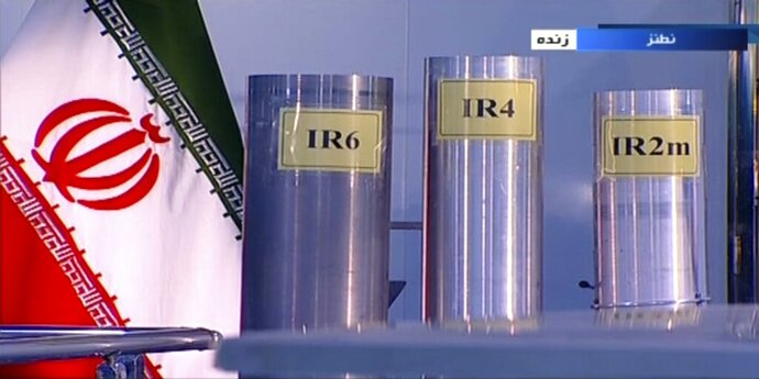 FILE - In this June 6, 2018 frame grab from the Islamic Republic Iran Broadcasting, IRIB, state-run TV, three versions of domestically-built centrifuges are shown in a live TV program from Natanz, an Iranian uranium enrichment plant, in Iran. Iran announced Tuesday, Nov. 5, 2019, it would inject uranium gas into 1,044 centrifuges it previously kept empty under its 2015 nuclear deal with world powers. (IRIB via AP, File)