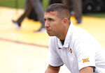 Iowa State head coach Matt Campbell takes a moment before the first half of an NCAA college football game against Northern Iowa, Saturday, Aug. 31, 2019, in Ames. (AP Photo/Matthew Putney)
