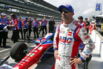 "FILE - In this May 19, 2018, file photo, Tony Kanaan, of Brazil, watches after his run during qualifications for the IndyCar Indianapolis 500 auto race at Indianapolis Motor Speedway, in Indianapolis. Kanaan will get to race 5 oval events, including the Indianapolis 500, in what will be called his ""farewell tour"" this upcoming IndyCar season. (AP Photo/Michael Conroy, File)"
