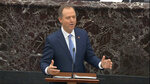 FILE - In this  Jan. 24, 2020, file image from video, House impeachment manager Rep. Adam Schiff, D-Calif., speaks during the impeachment trial against President Donald Trump in the Senate at the U.S. Capitol in Washington. The seven House Democratic impeachment managers have used long speeches to explain why President Donald Trump should be removed from office. Republican senators sitting through their chamber's trial largely considered Democrats' arguments tedious and unpersuasive. (Senate Television via AP, File)