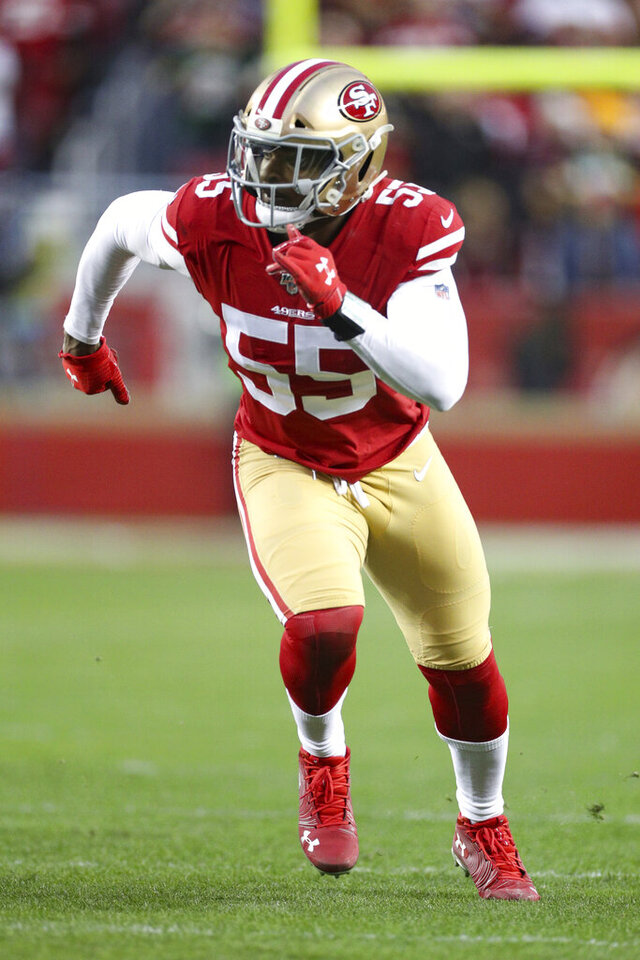 San Francisco 49ers defensive end Dee Ford (55) takes a defensive position during the NFL NFC Championship football game against the Green Bay Packers, Sunday, Jan. 19, 2020 in Santa Clara, Calif. The 49ers defeated the Packers 37-20. (Margaret Bowles via AP)