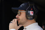 Marco Andretti watches during practice for the Indianapolis 500 auto race at Indianapolis Motor Speedway, Thursday, May 20, 2021, in Indianapolis. (AP Photo/Darron Cummings)