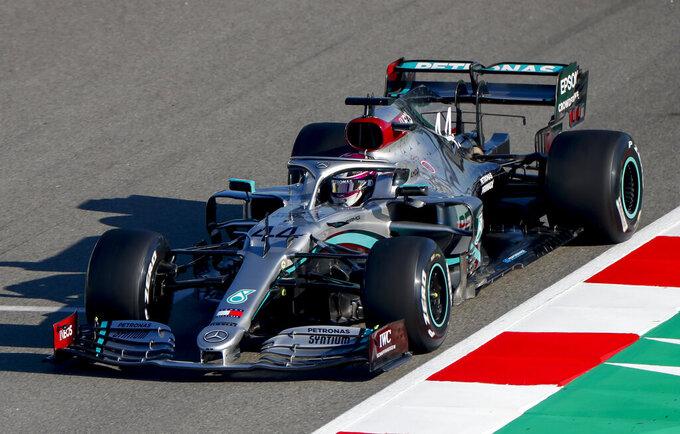 Mercedes-AMG Petronas' Lewis Hamilton drives during a Formula One pre-season testing session at the Barcelona Catalunya racetrack in Montmelo, outside Barcelona, Spain, Thursday, Feb. 20, 2020. (AP Photo/Joan Monfort)
