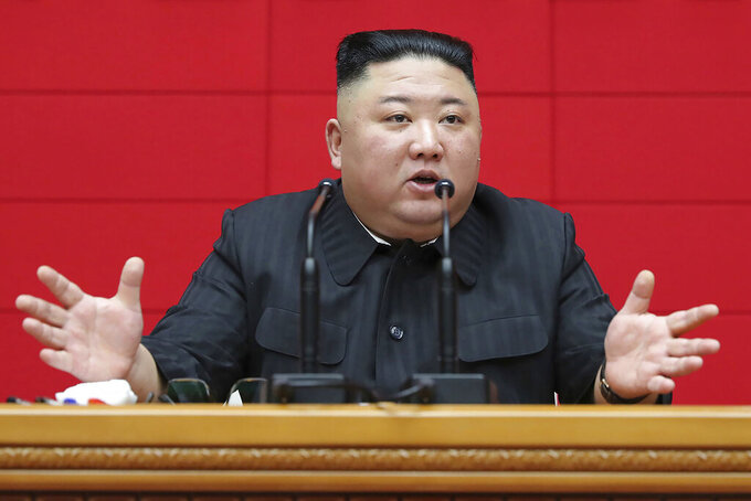 """FILE - In this March 4, 2021, file photo provided by the North Korean government, North Korean leader Kim Jong Un delivers a speech during a workshop of chief secretaries of city and county committees of the ruling Workers' Party in Pyongyang, North Korea. State media say Kim vowed to launch an """"uncompromising struggle"""" against anti-socialist elements and build a perfect self-supporting economy. Kim's comments released Thursday, May 27, 2021 come as he seeks greater internal strength to overcome pandemic-related difficulties and U.S.-led sanctions. Independent journalists were not given access to cover the event depicted in this image distributed by the North Korean government. The content of this image is as provided and cannot be independently verified. (Korean Central News Agency/Korea News Service via AP, File)"""